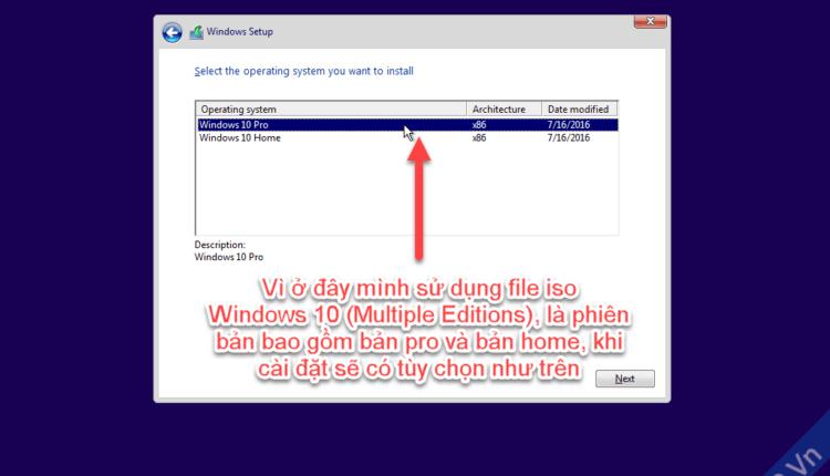 Chọn phiên bản windows 10 cần cài