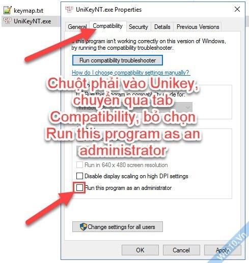 Unikey không khởi động cùng windows 10