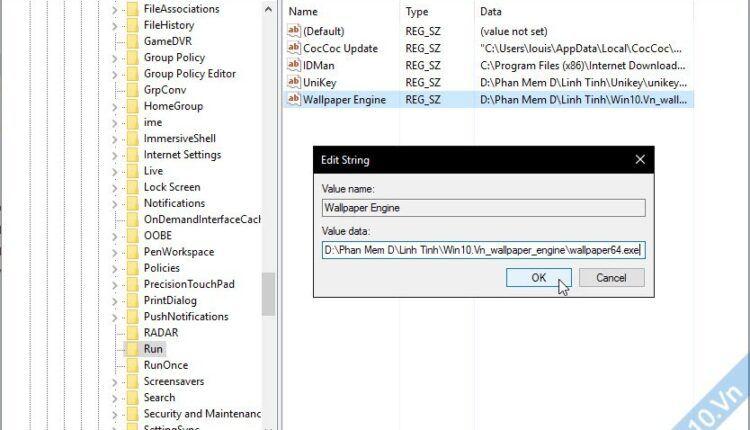 chọn phần mềm khởi động cùng windows