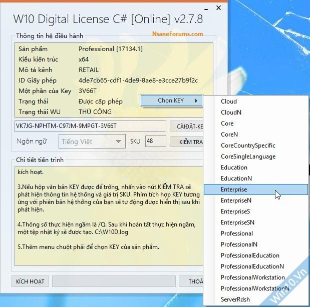 Chọn key phiên bản Windows 10