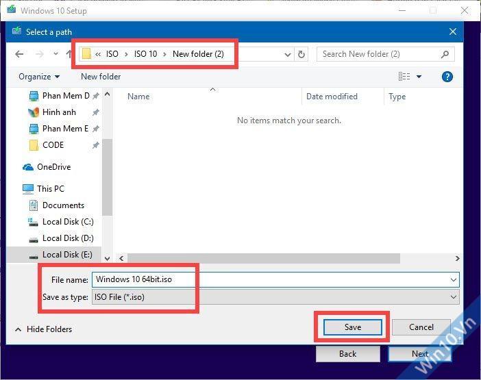 Chọn nơi lưu file ISO Win 10