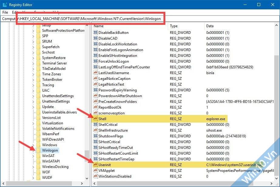 shell userinit sửa lỗi màn hình đen