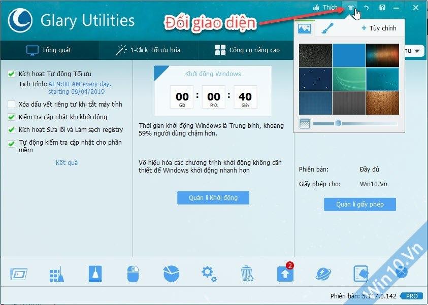 Đổi giao diện Glary Utilities Pro 5