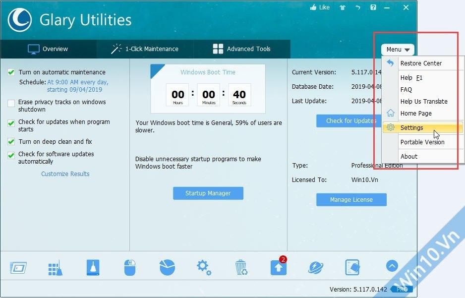 Vào cài đặt Glary Utilities Pro 5