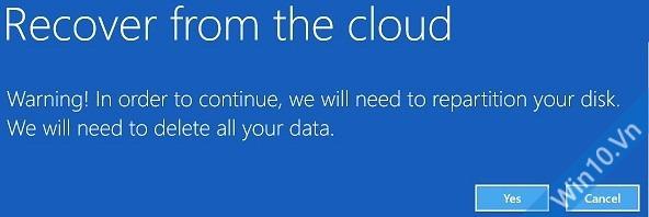 Xác nhận một lần nữa để tiến hành Recover from the cloud