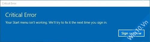 Lỗi Start menu Windows 10