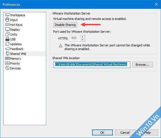 Disable Sharing VMware