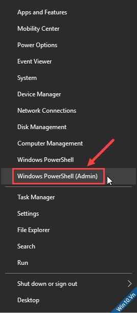 mở Windows PowerShell (Admin)